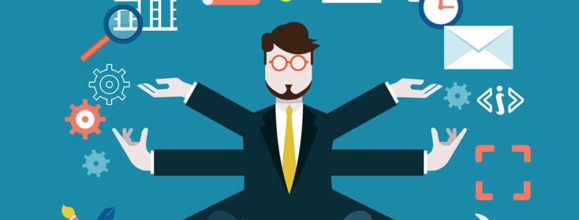 ilustração de um homem sentado, com vários braços e acada um deles está alcançando uma etapa do ciclo de vendas.